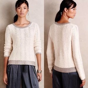 Anthropologie Moth Glimmer Banded Knit Sweater